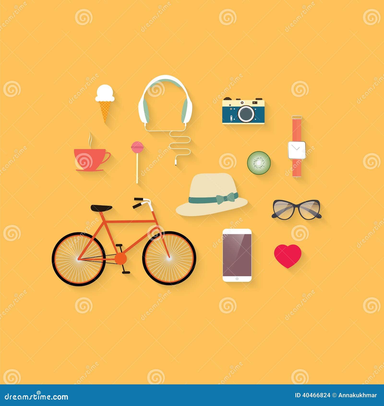 hipster flat vector icon set stock illustration illustration of