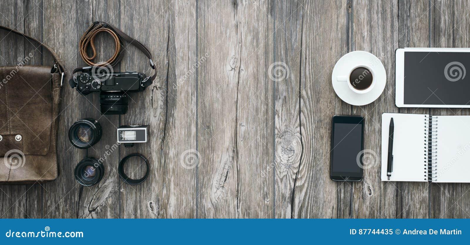 Hipster freelance photographer
