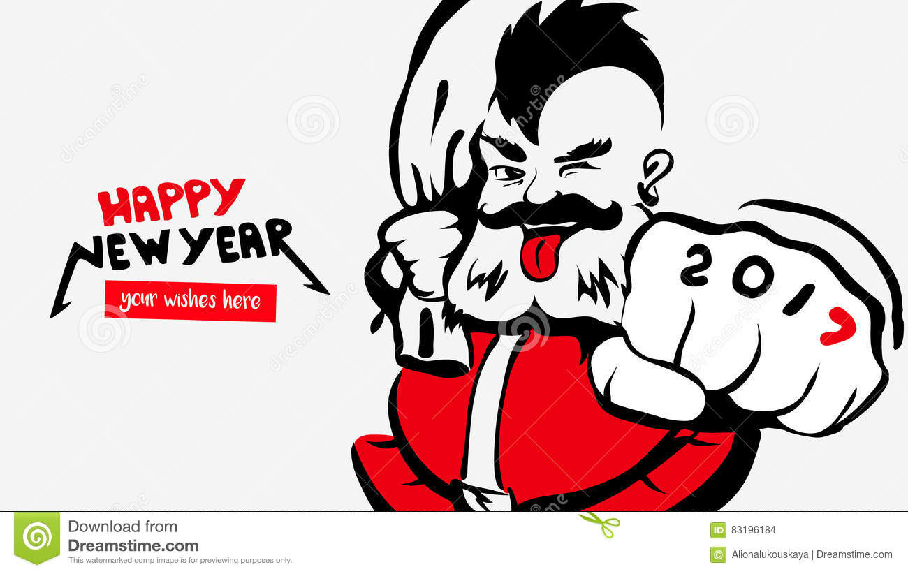Hipster Funny Santa Claus,greeting Card 2017,happy New Year,a Place ...