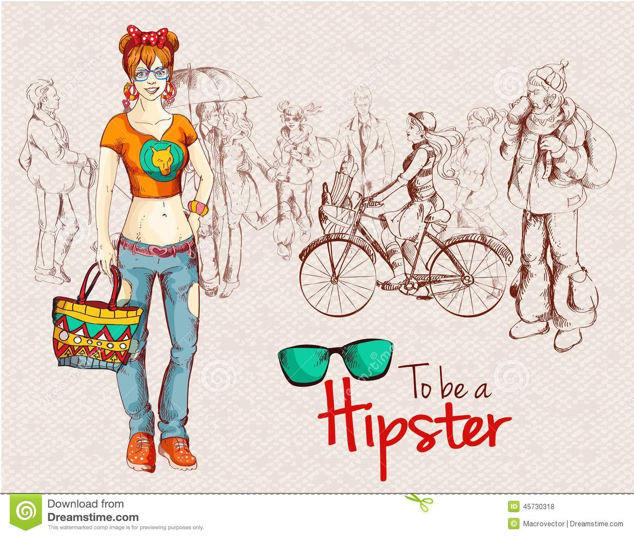 Hipster Girl Crowd Stock Vector Image Of Crowd Doodle 45730318