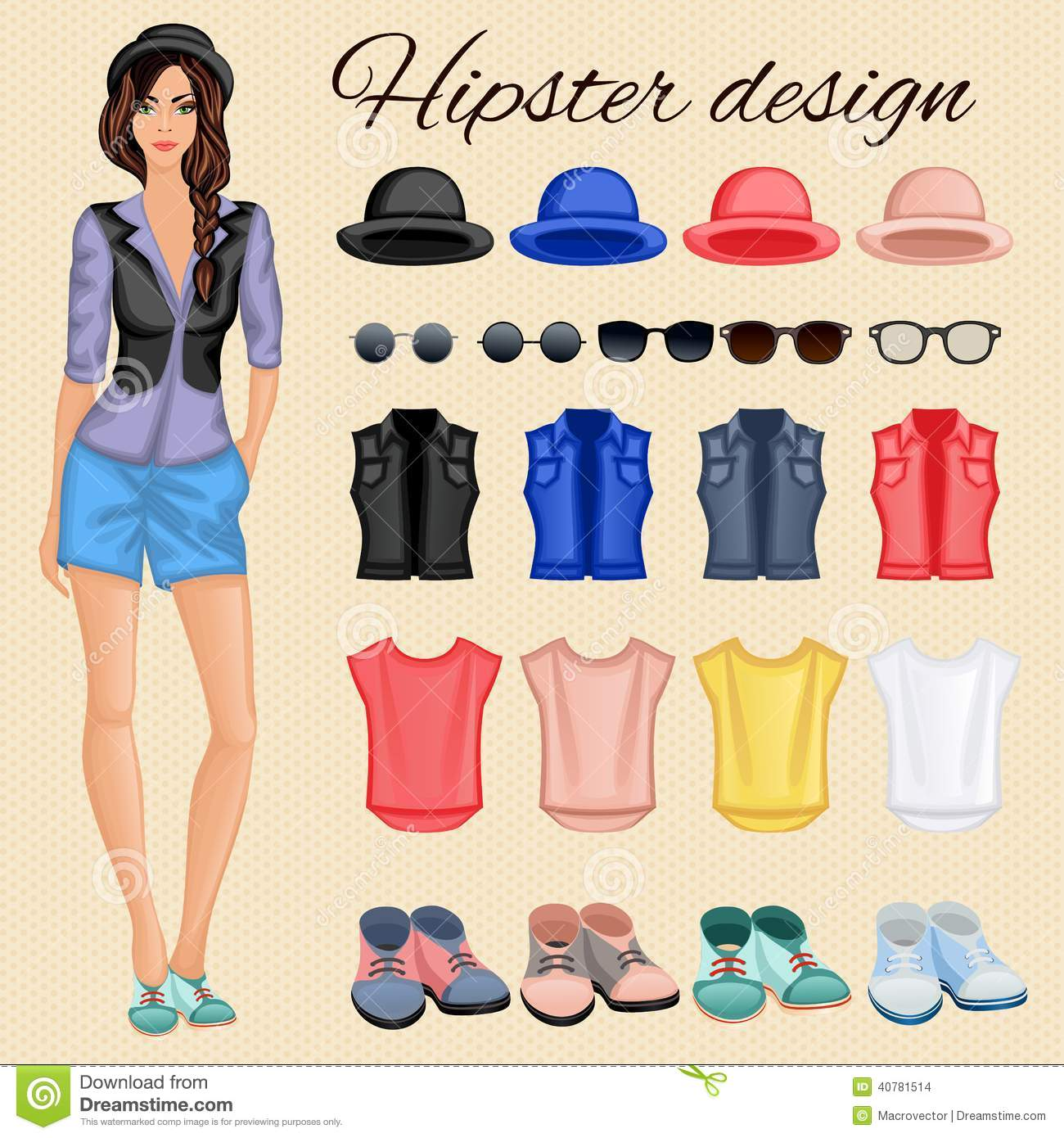 Hipster Girl Elements Stock Vector Image 40781514