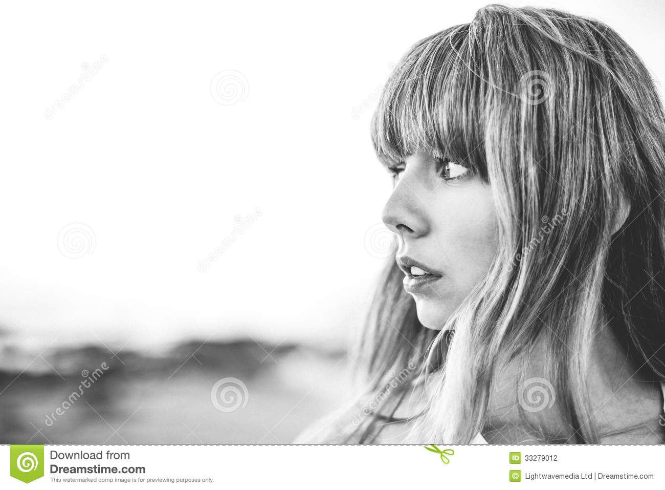 Hipster Girl With Fringe Looking Away Stock Photo - Image -8065