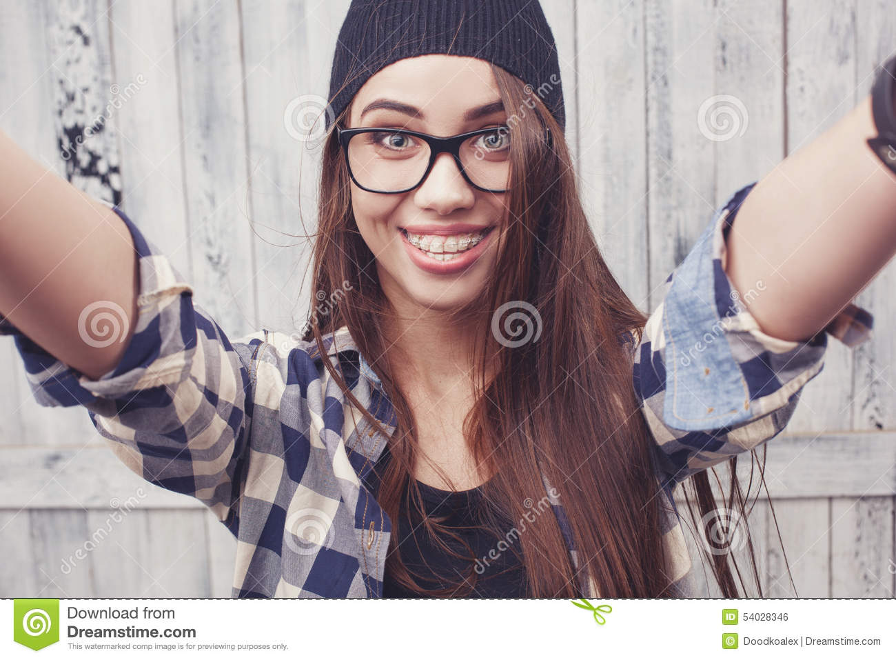 Hipster Girl In Glasses And Black Beanie Stock Photo - Image of ... 5f4488b64a8
