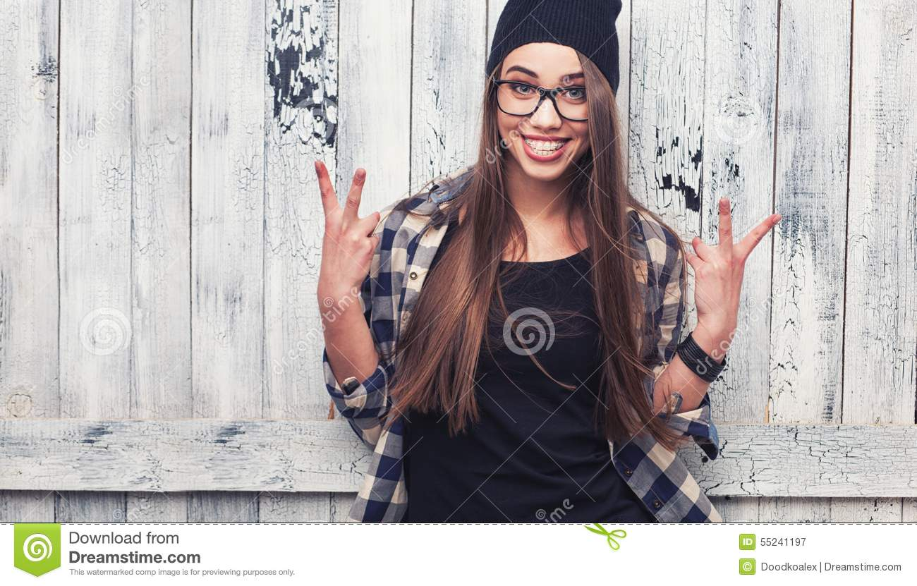 1612cf54def Hipster Girl In Glasses And Black Beanie Stock Image - Image of girl ...