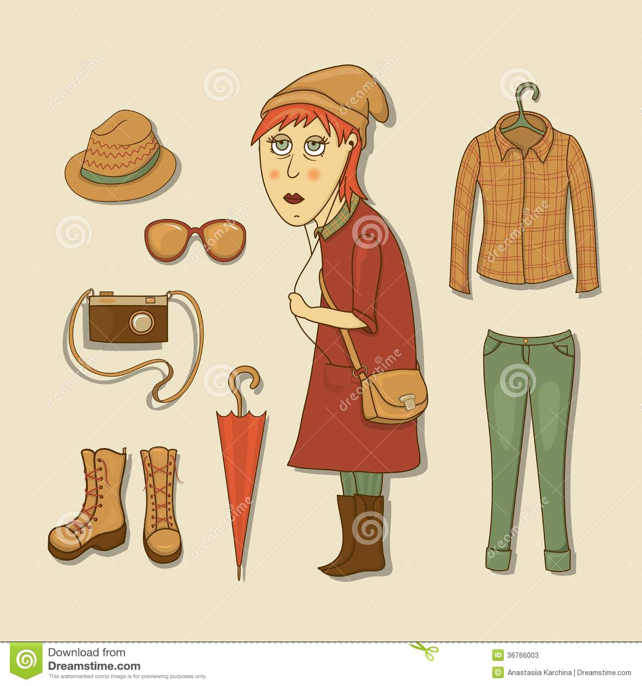 Hipster Girl With Icons Hipster Elements Stock Photos Image 36766003