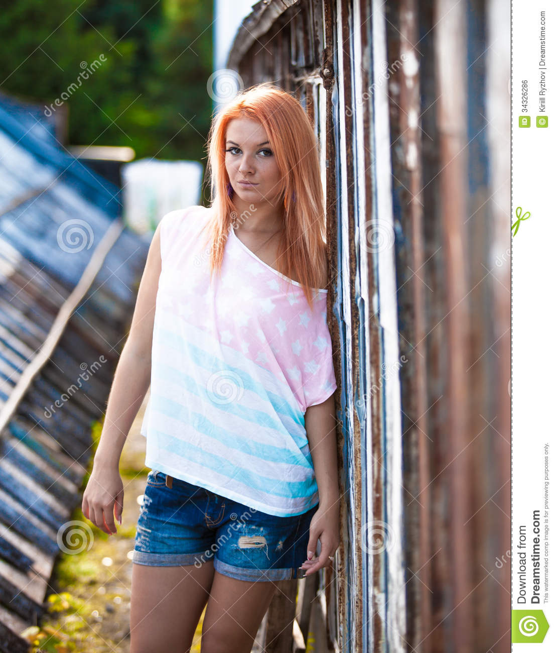 Hipster Girl Posing Near Old Building Stock Photo