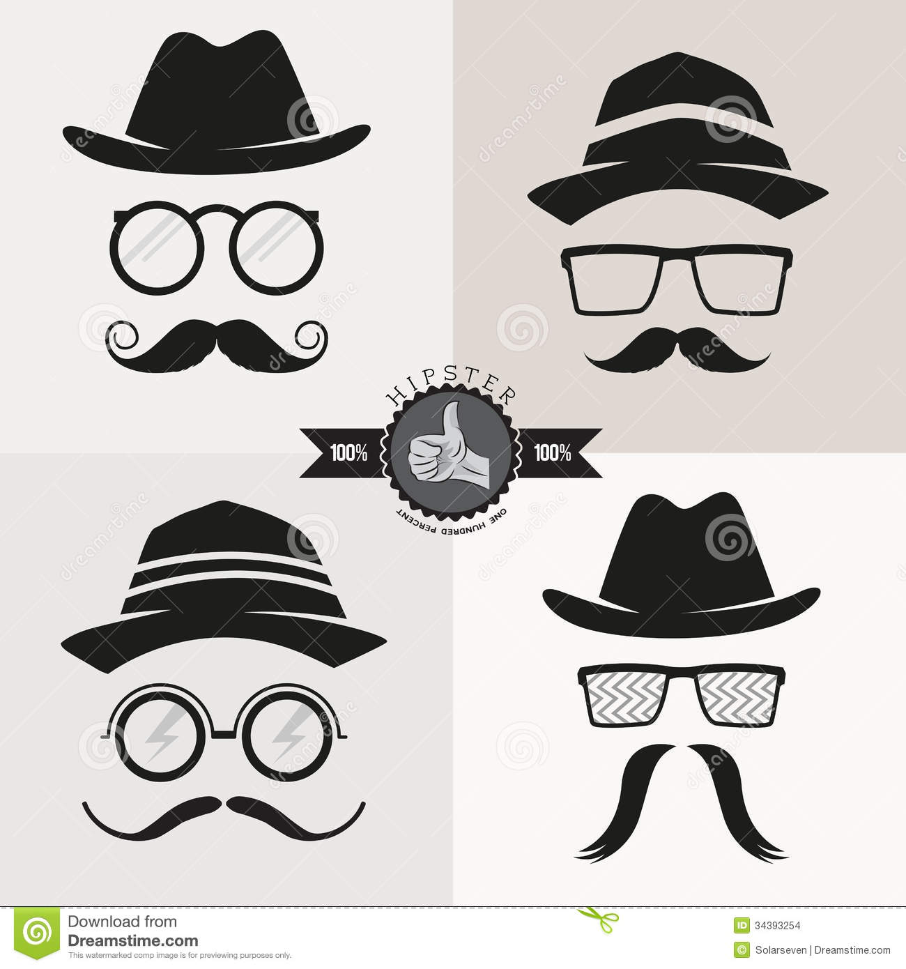 Hipster Glasses, Hats & Mustaches Stock Vector - Image ...