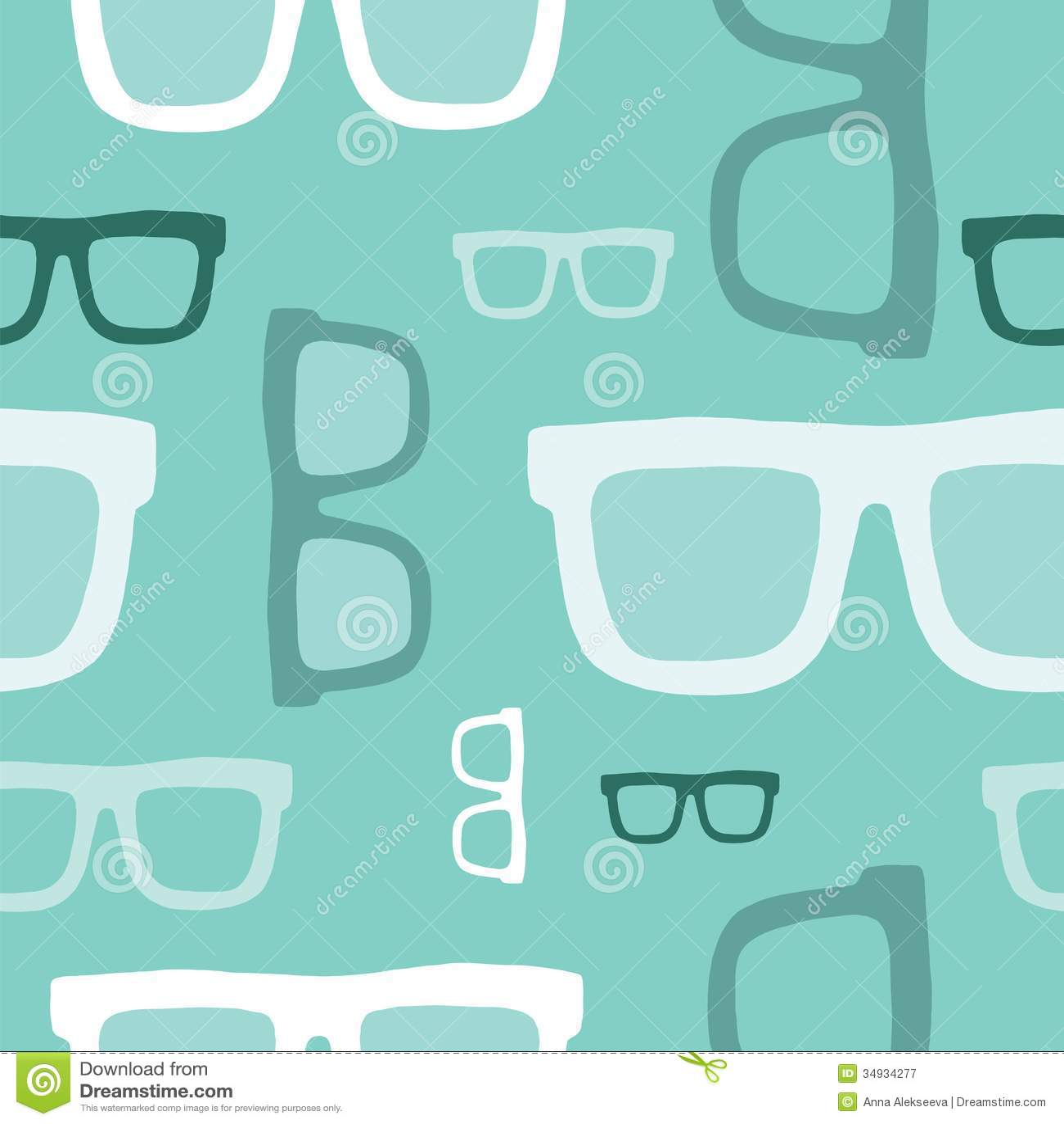 Hipster Glasses Seamless Pattern Stock Vector Illustration Of