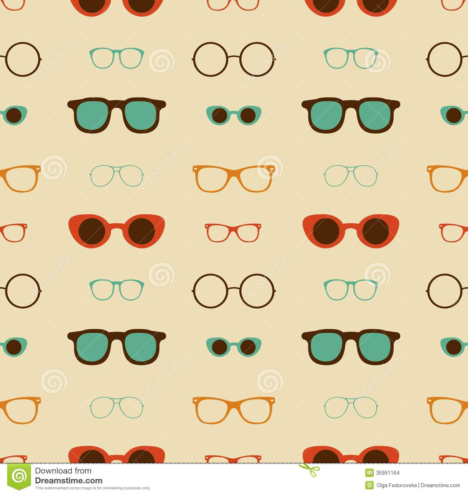 Hipster Glasses Vector Seamless Pattern Stock Vector Illustration