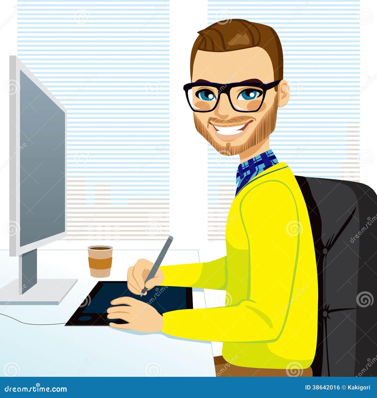 Hipster Graphic Designer Man Working Royalty Free Stock