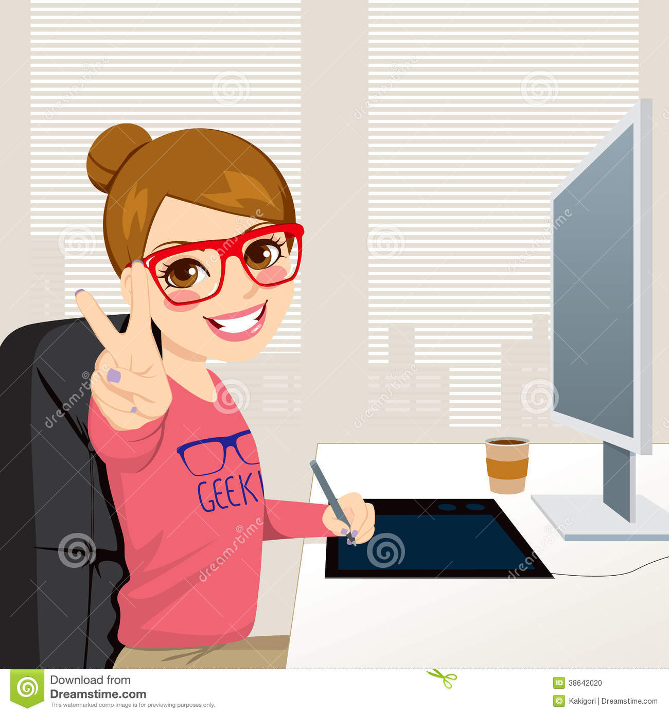 Hipster Graphic Designer Woman Working Stock Photo Image