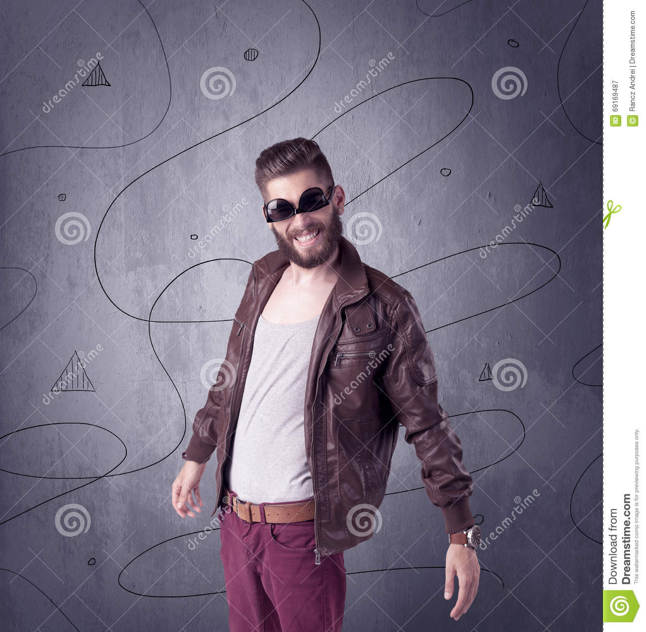 Hipster Guy With Beard And Vintage Camera Stock Photo ...