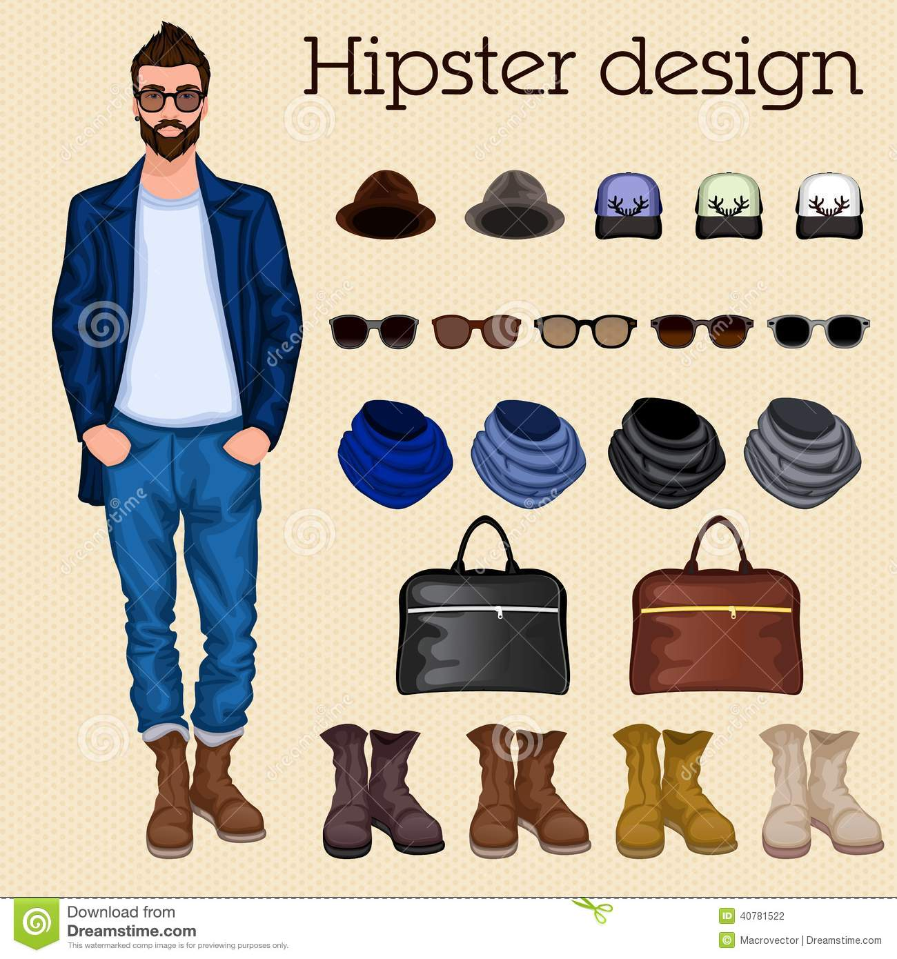 Hipster guy elements stock vector. Image of glasses ...