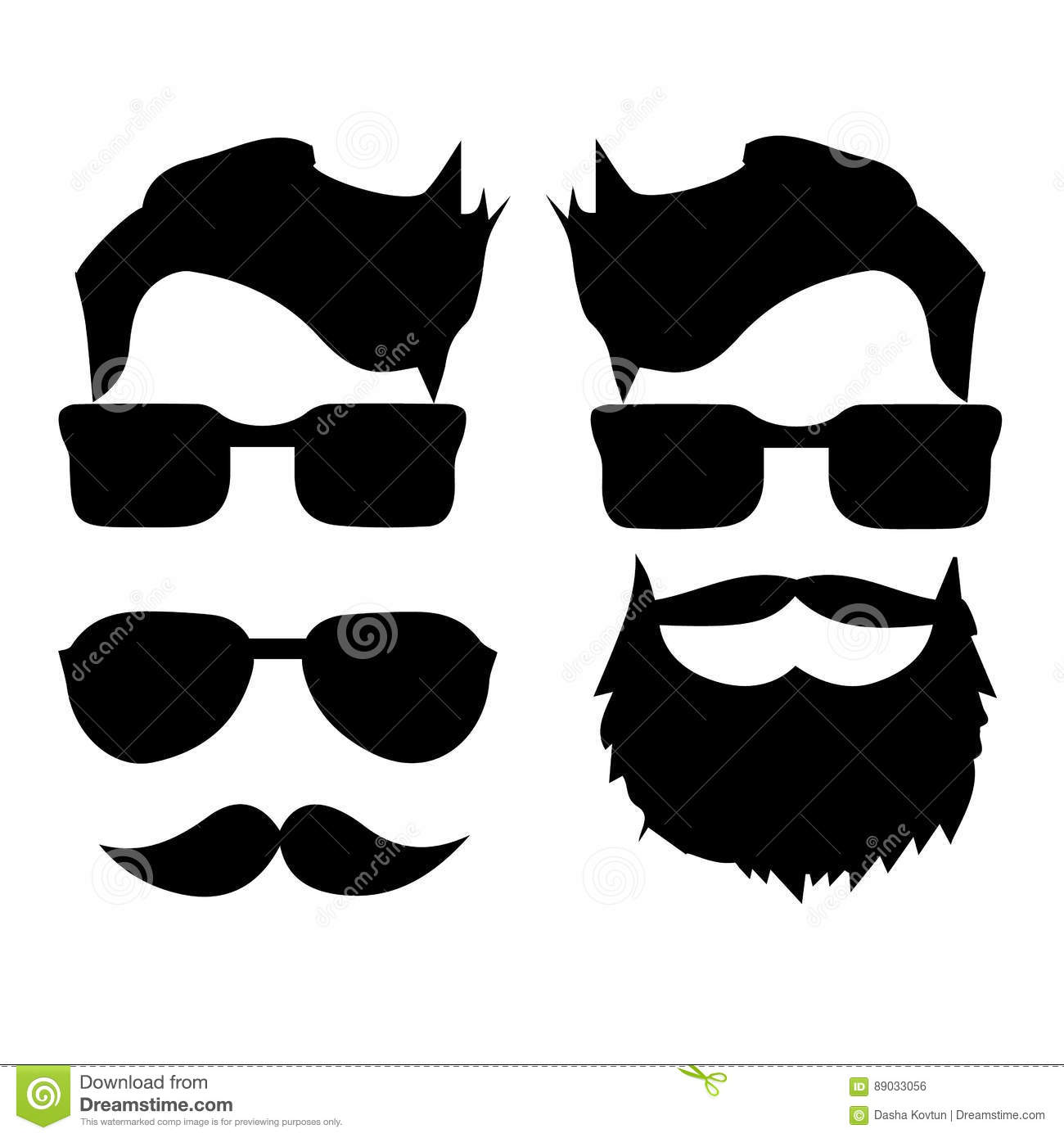 Hipster Hair And Beards Fashion Vector Illustration Set Vector Illustration Cartoondealer