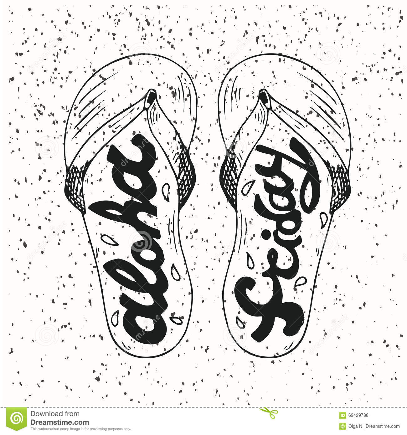 30ecf384e Hipster Hand Drawn Flip Flops With Inscription Stock Vector ...