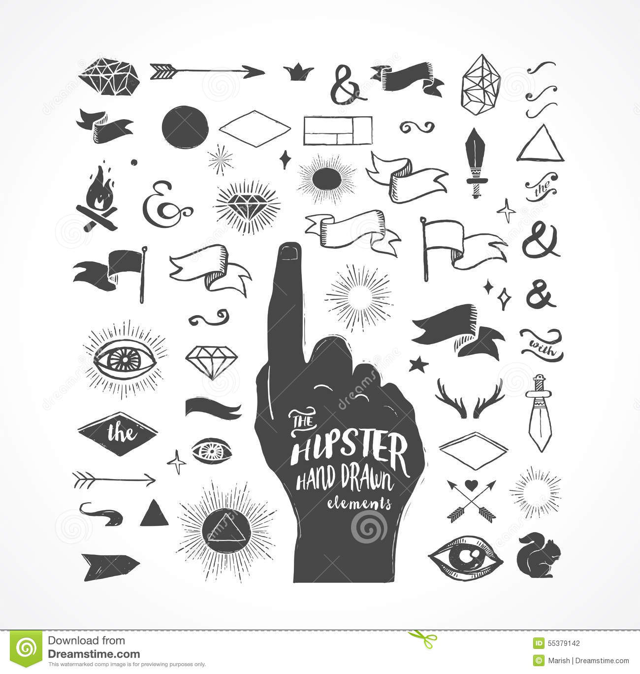 Hipster hand drawn shapes, icons, elements
