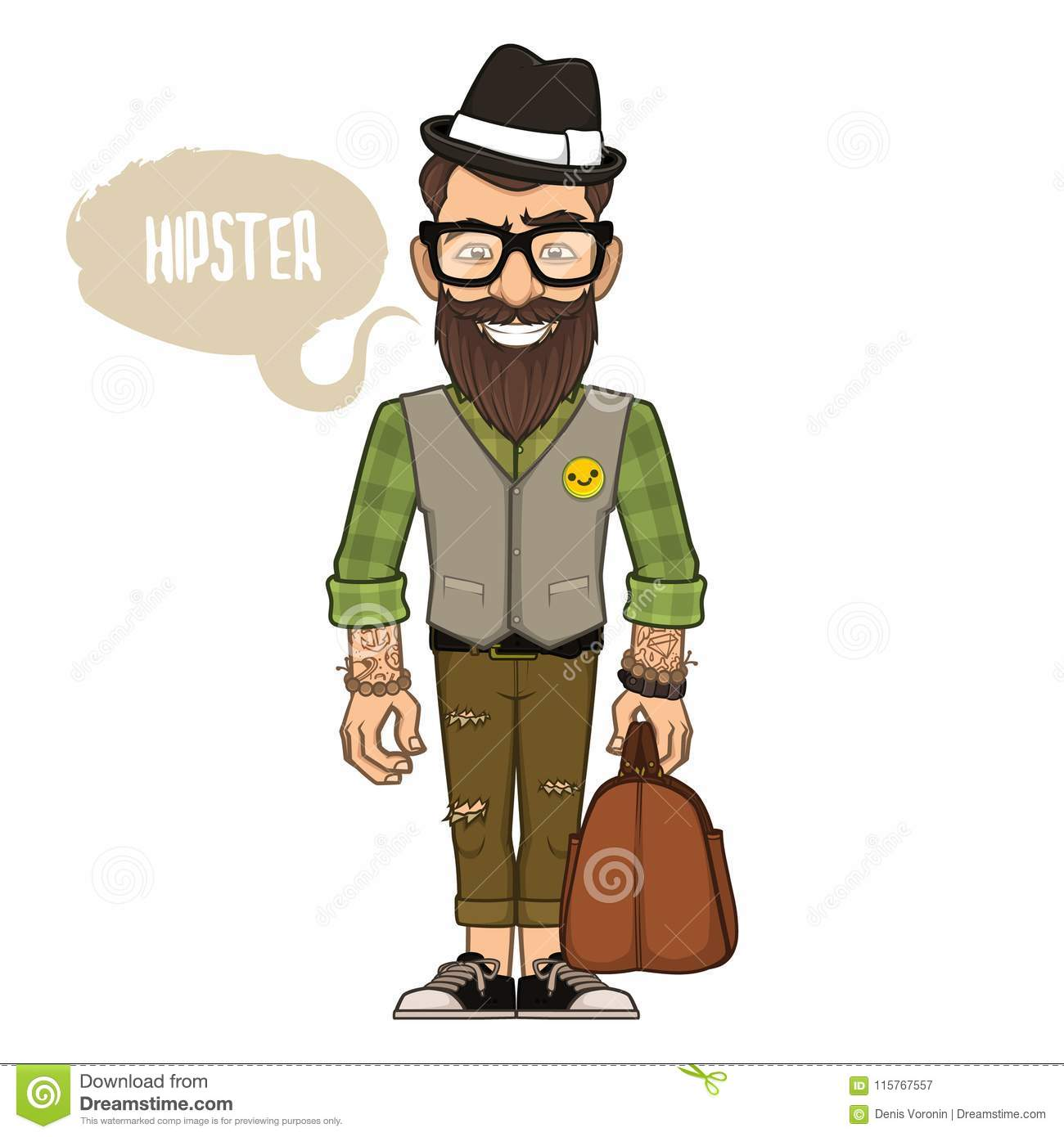 Hipster in a hat and glasses