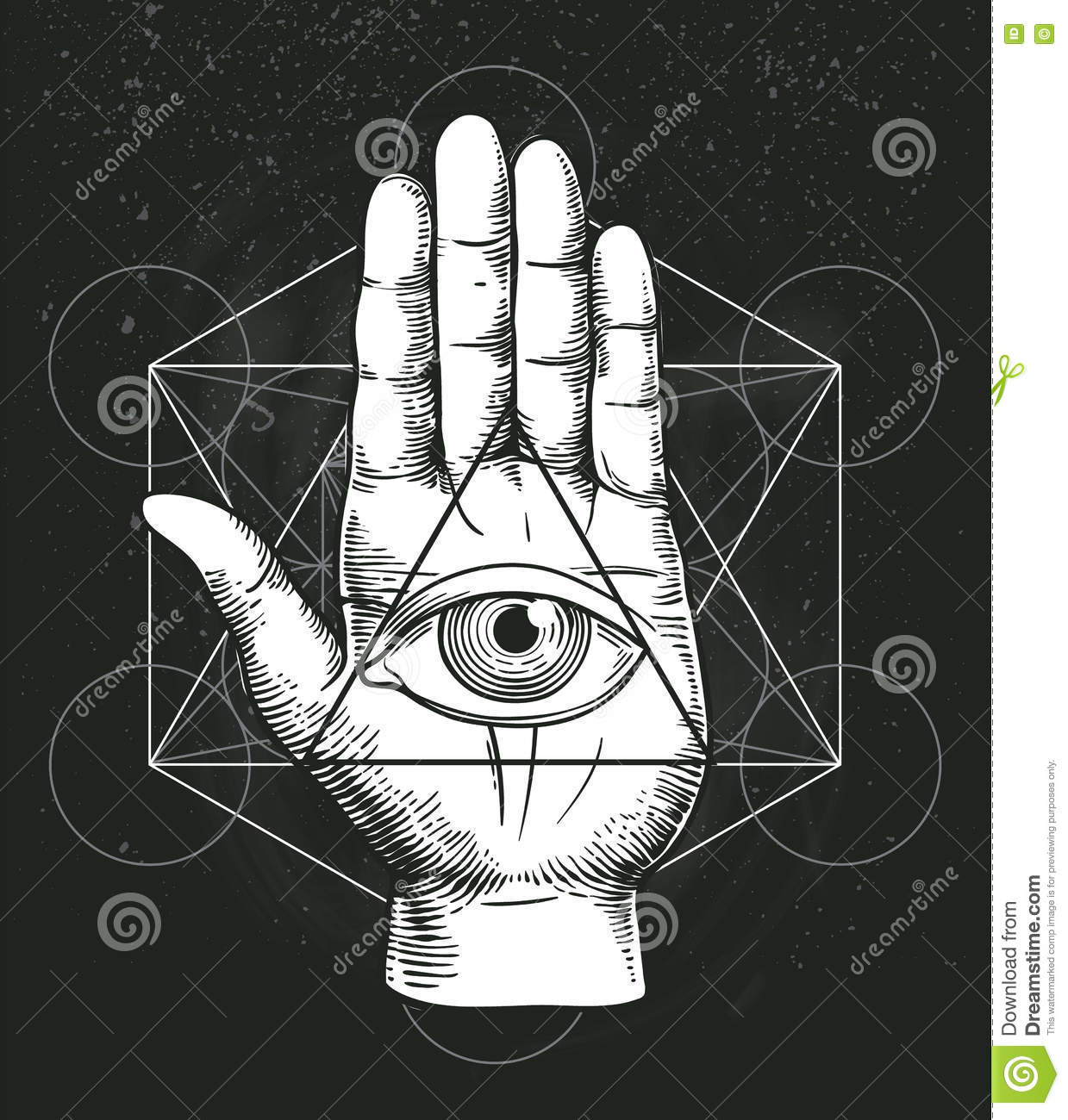 Hipster illustration with sacred geometry hand and all seeing hipster illustration with sacred geometry hand and all seeing eye symbol inside triangle pyramid masonic symbol buycottarizona