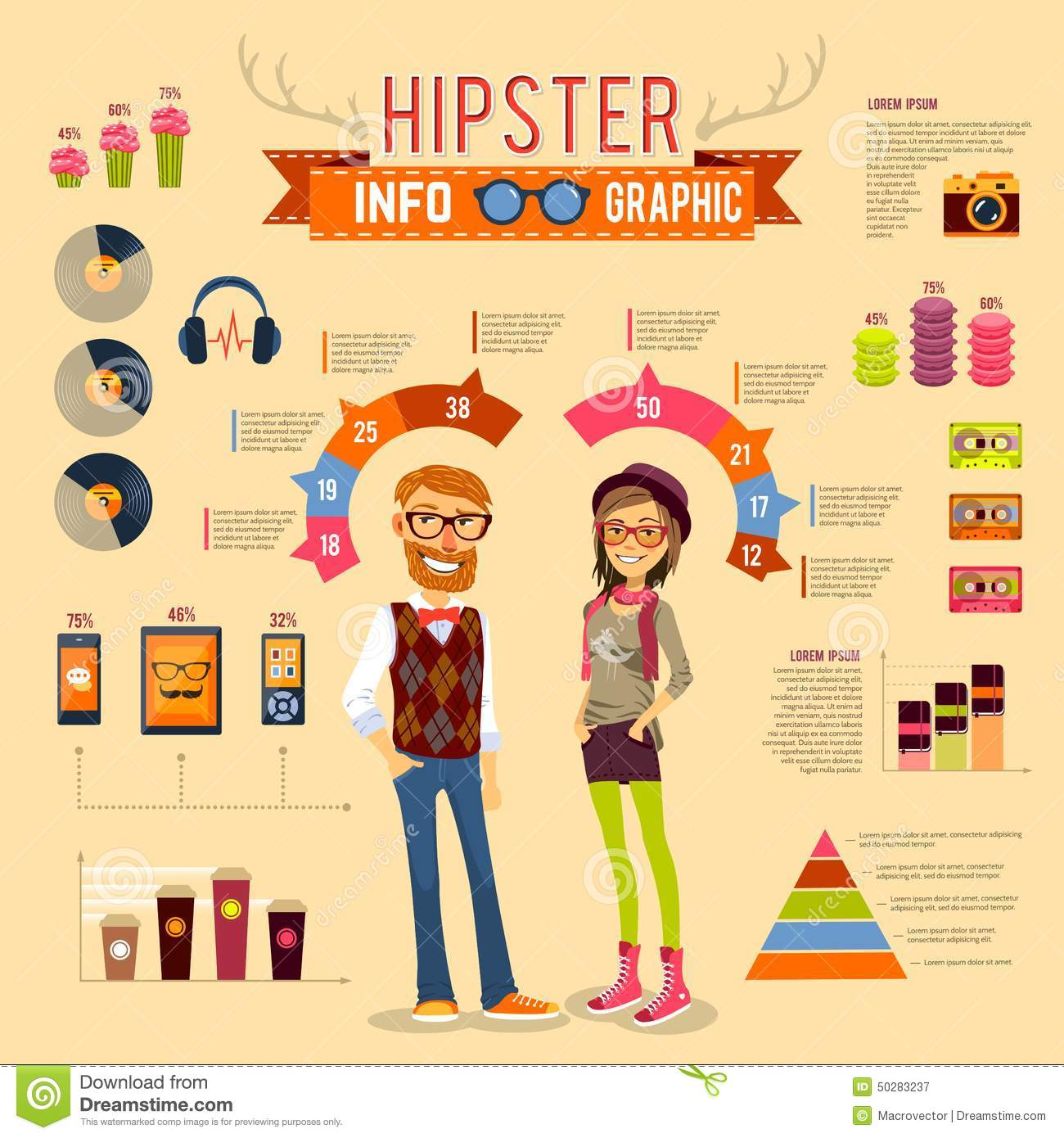 Hipster Infographic Set Stock Vector Image 50283237