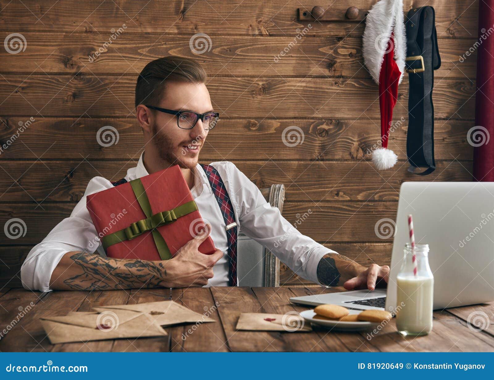 Hipster jonge Santa Claus