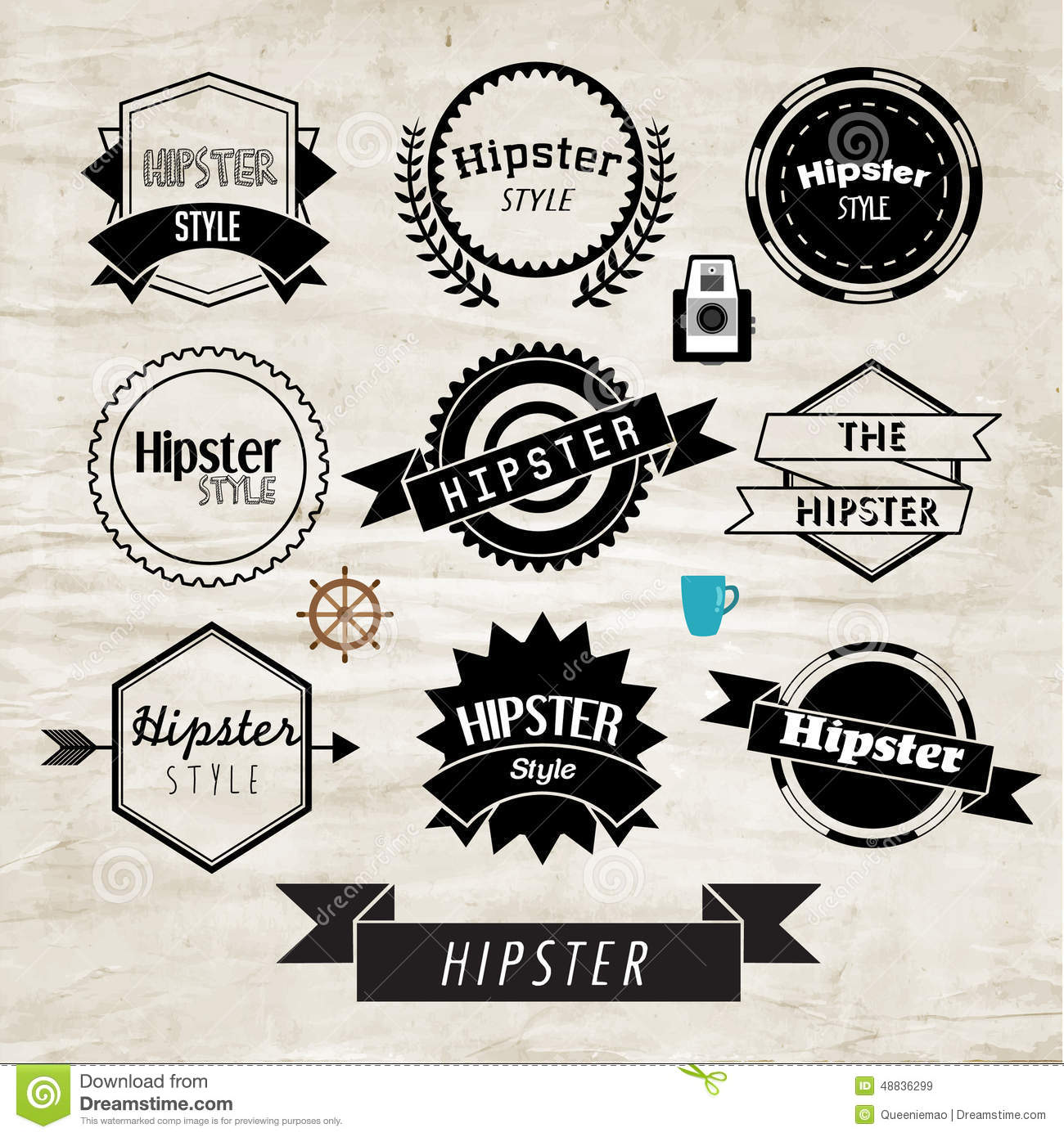 hipster label and badge icon vector design stock vector