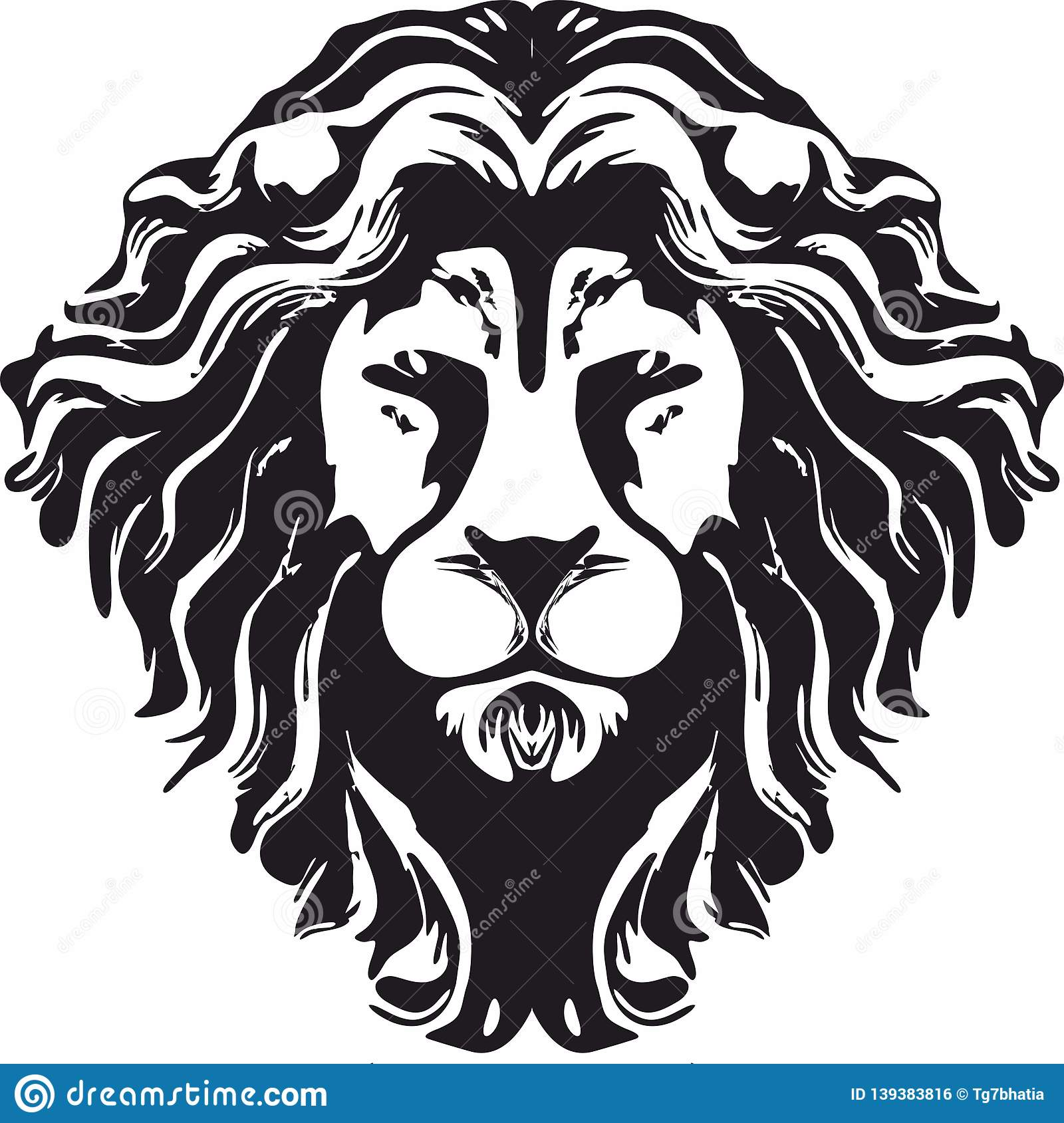 Hipster Lion Head Monochrome Design Png Format Stock Photo
