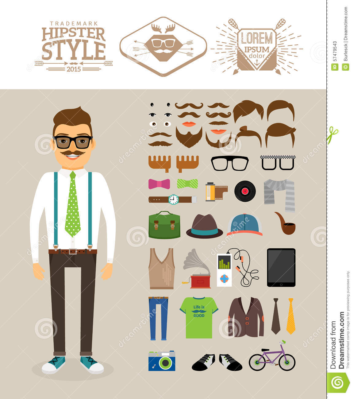 Retro Illustration Hipster Style Clothing Accessories