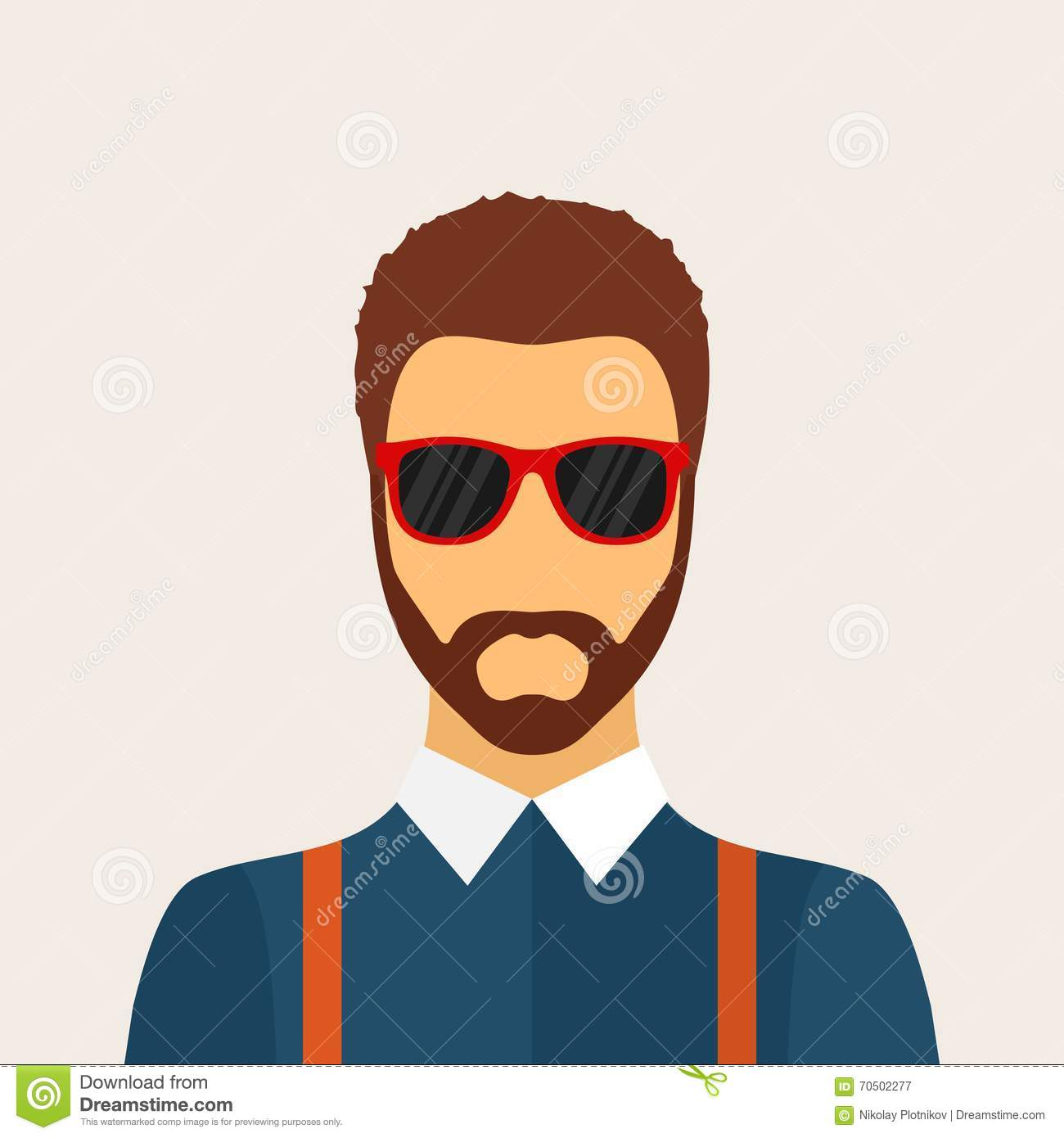 Hipster Man Character With Beard, Hairstyle And Glasses In ...