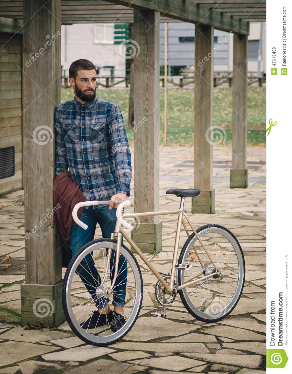 Hipster Man With A Fixie Bike Stock Image Image 47619439