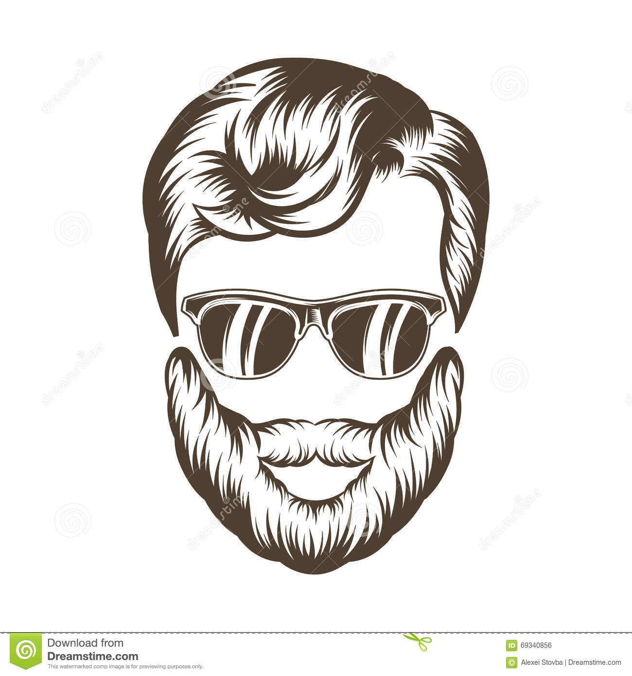 Hipster hair drawing