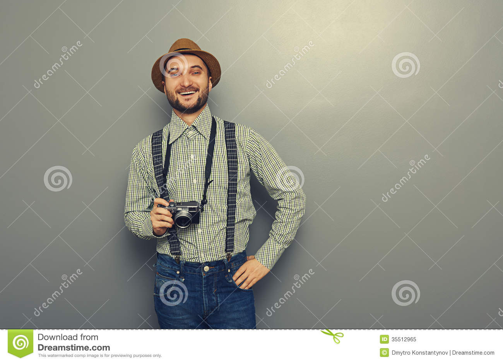 Hipster Man Holding Retro Camera Royalty Free Stock Photo ...