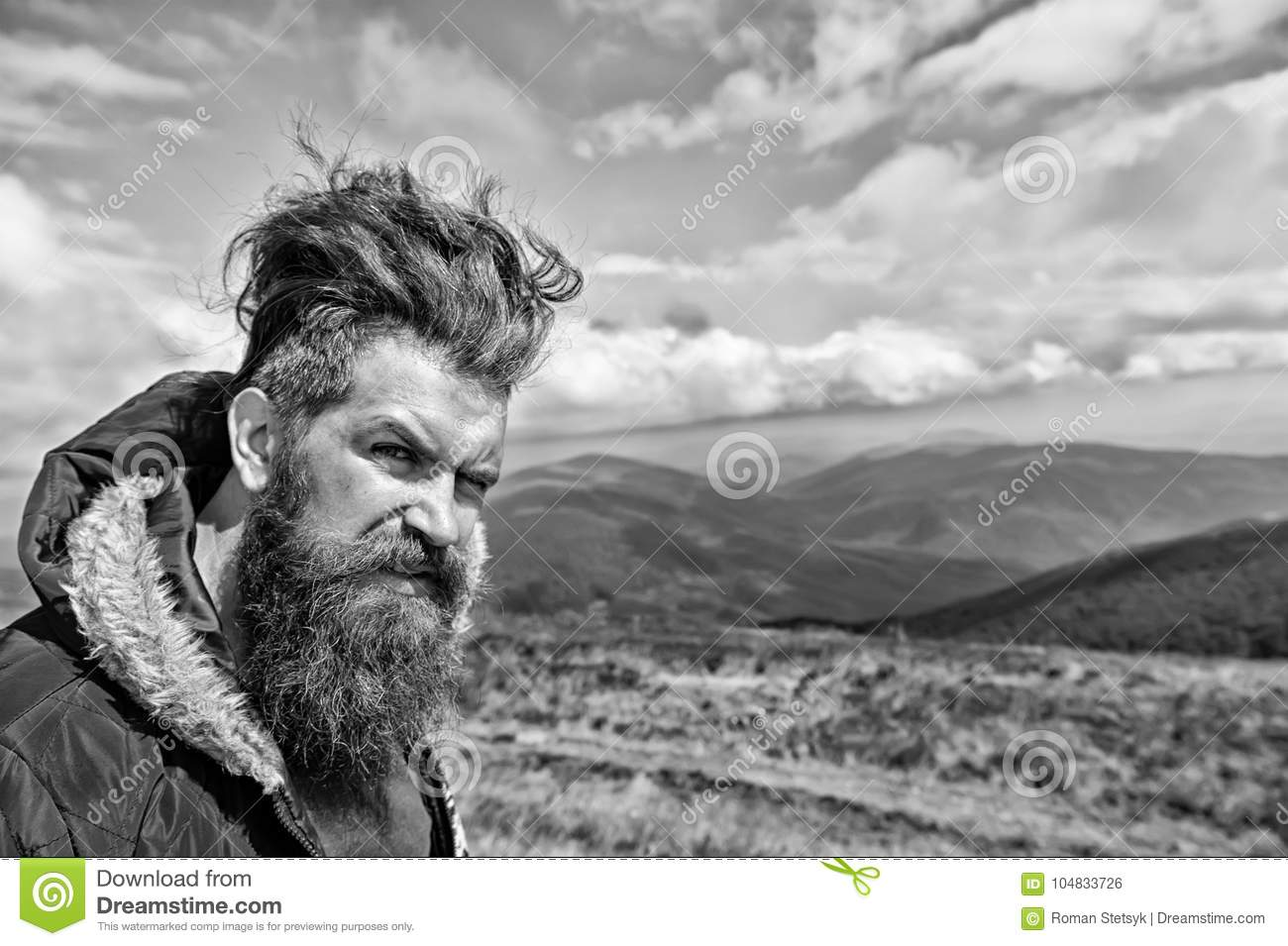 Peachy Hipster Man With Long Beard Hair On Mountain Landscape Stock Photo Schematic Wiring Diagrams Amerangerunnerswayorg