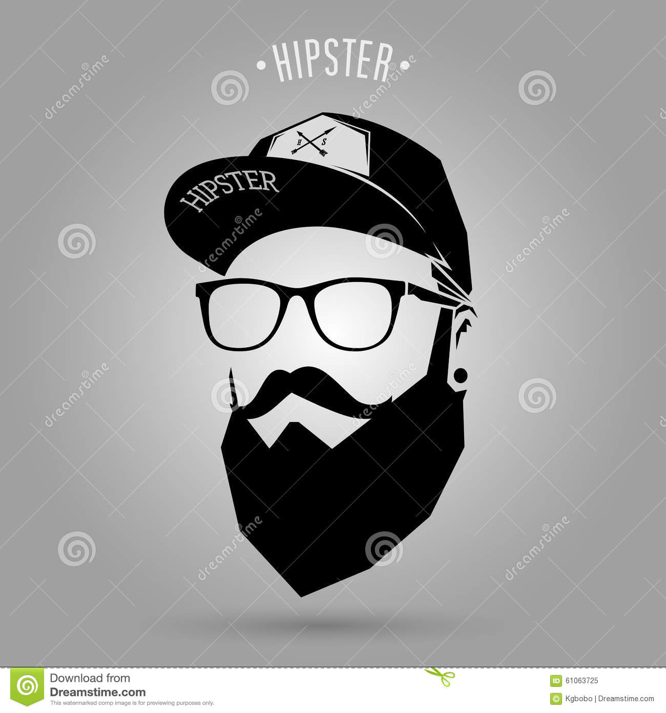 Stock Illustration Hipster Men Cap Man Face Gray Background Image61063725 on vintage settings