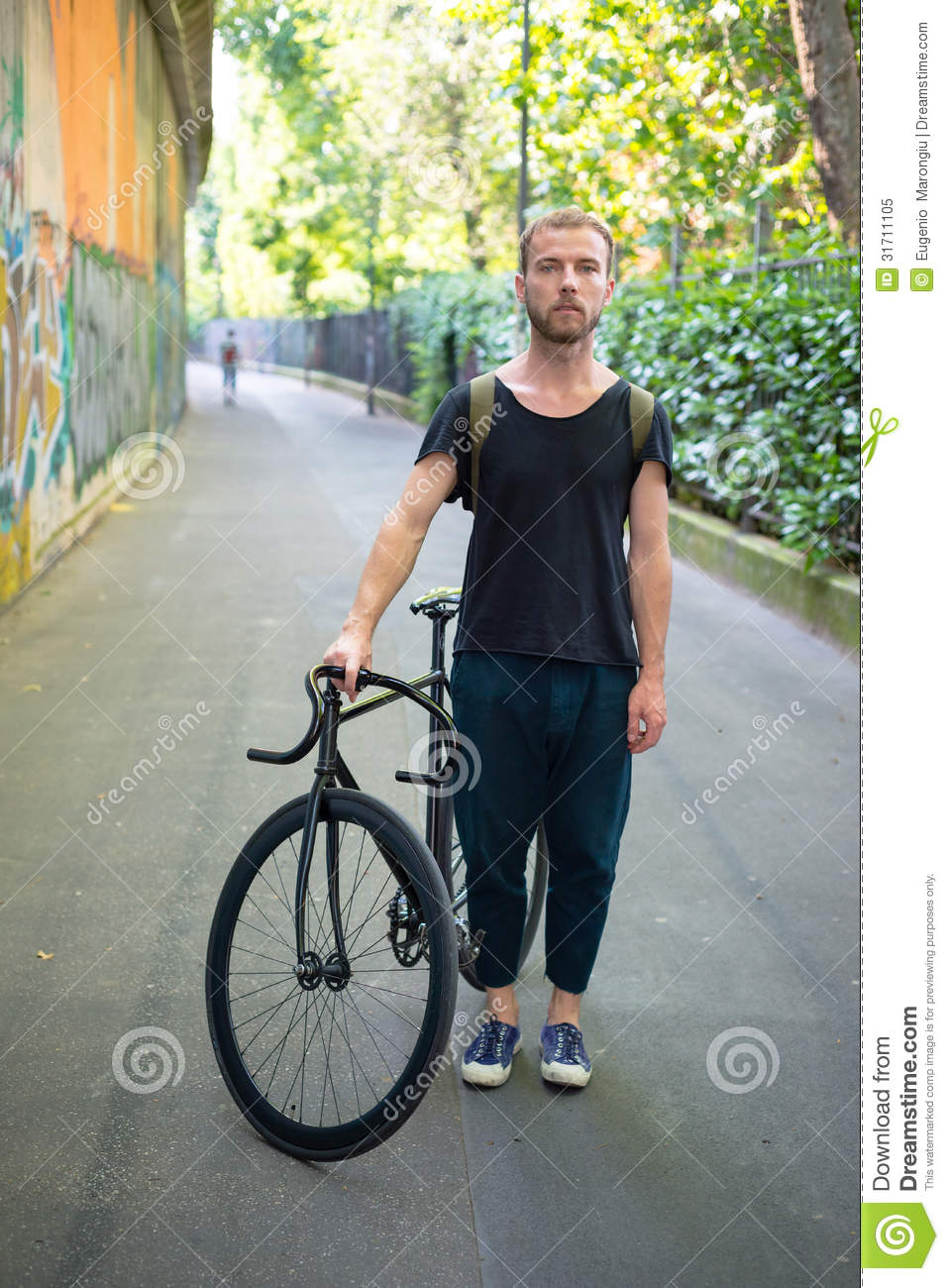 Hipster Modern Stylish Blonde Man With Bike Stock Image ...