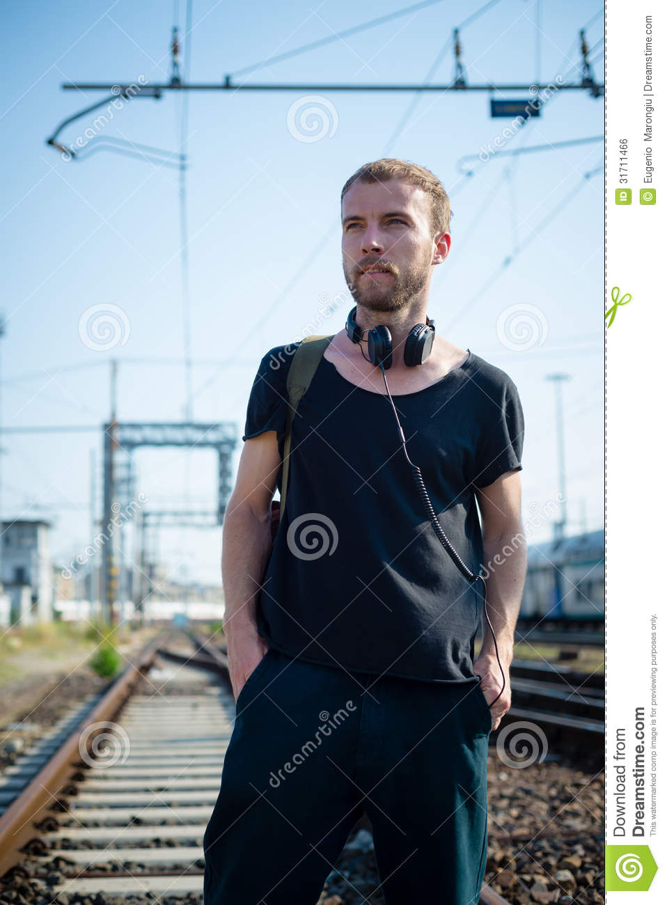 Hipster Modern Stylish Blonde Man On Rails Stock Photo ...