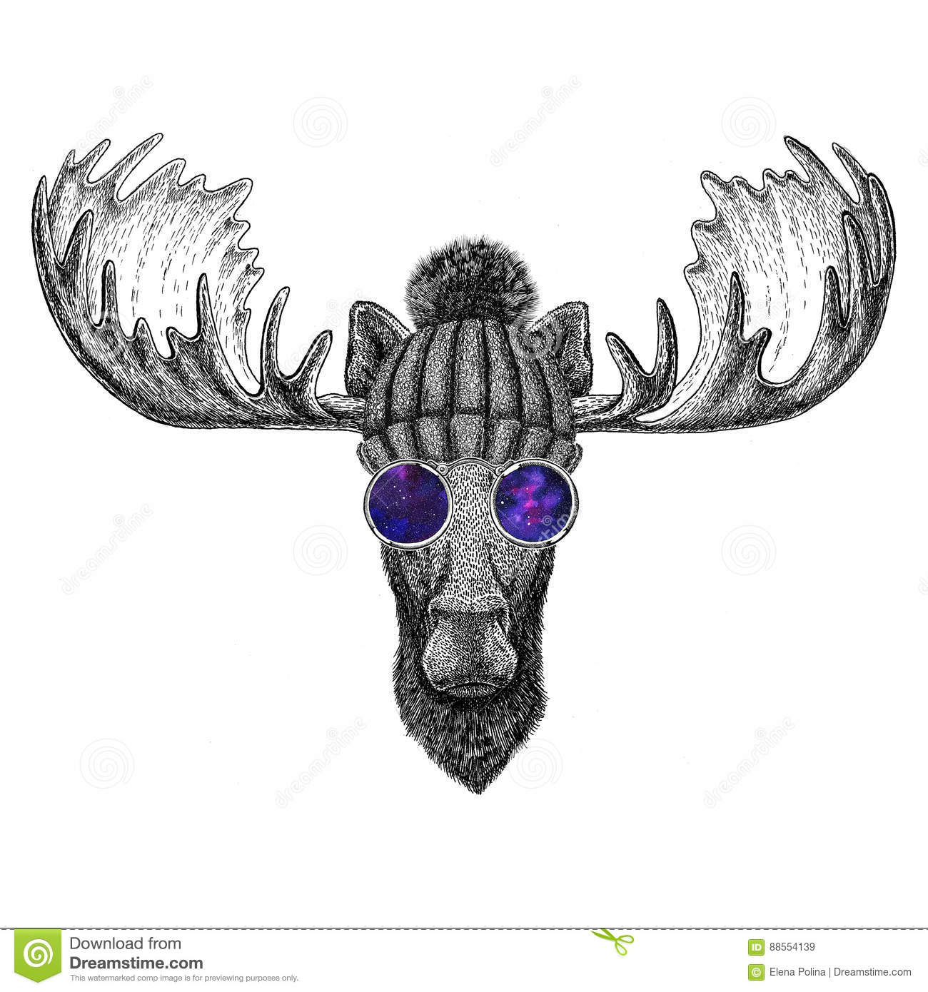 hipster moose elk wearing knitted hat and glasses image