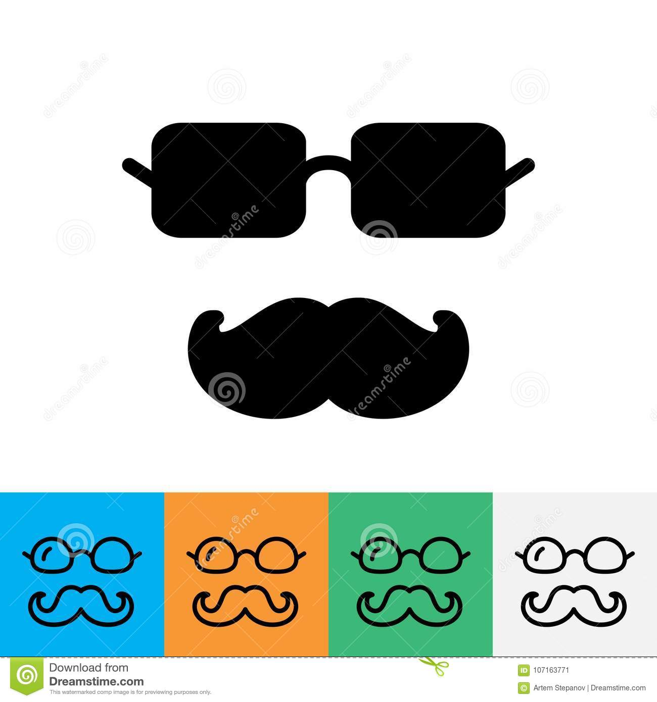 Mustache And Glasses Icon Stock Illustration Illustration Of Human