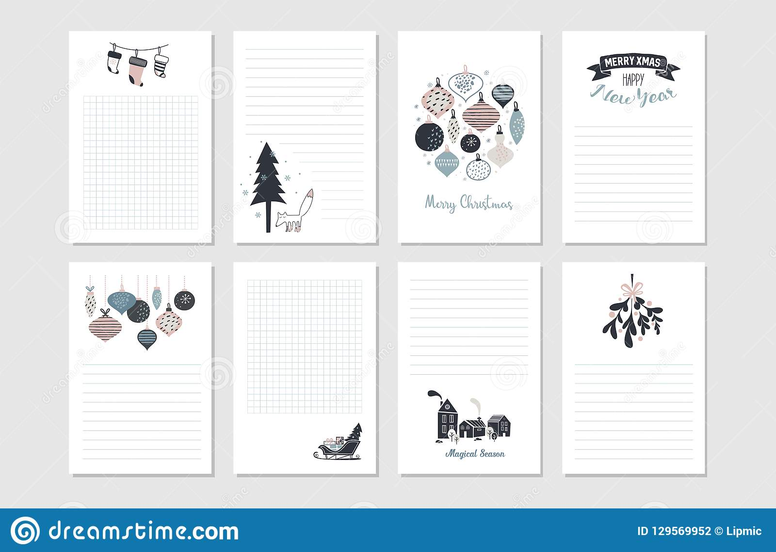 hipster new year and merry christmas stationary set vector printable cards stickers and banners