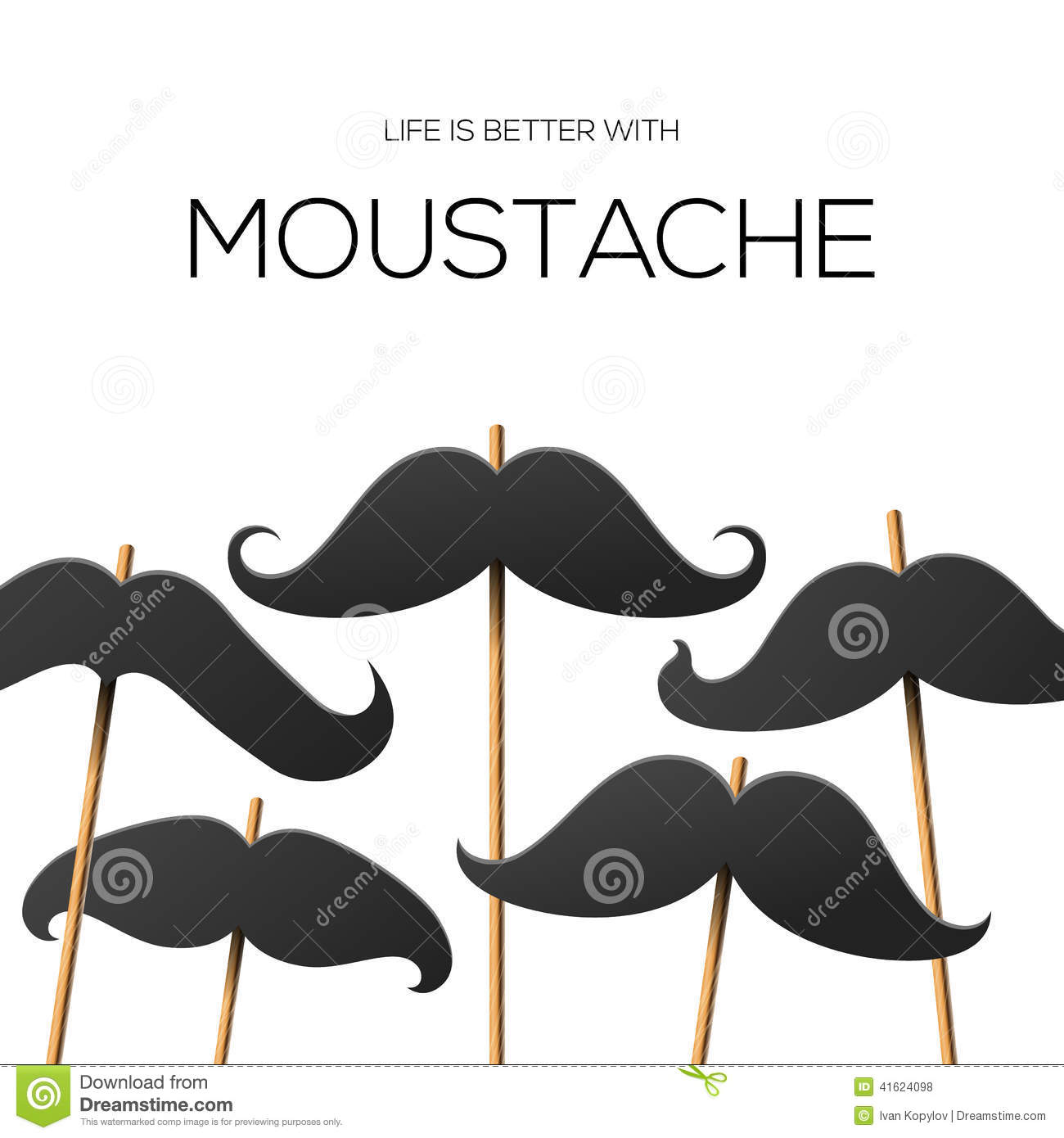 hipster party design template with mustache stock vector