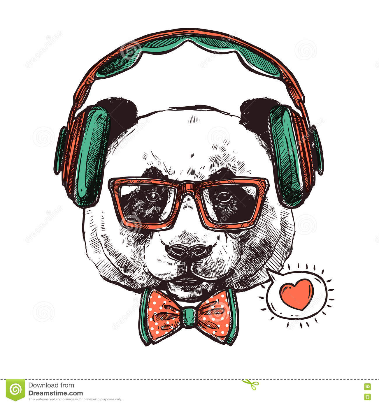 Hipster Portrait Animals Stock Vector Image 71357022