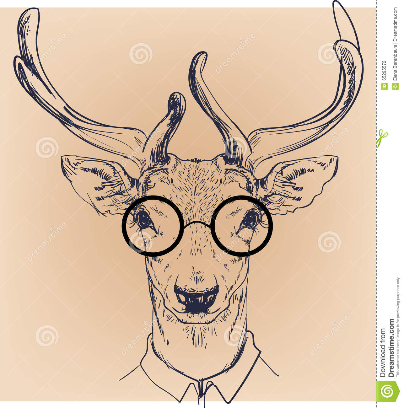 Hipster Portrait Of Deer With Glasses Stock Vector Image 65295572