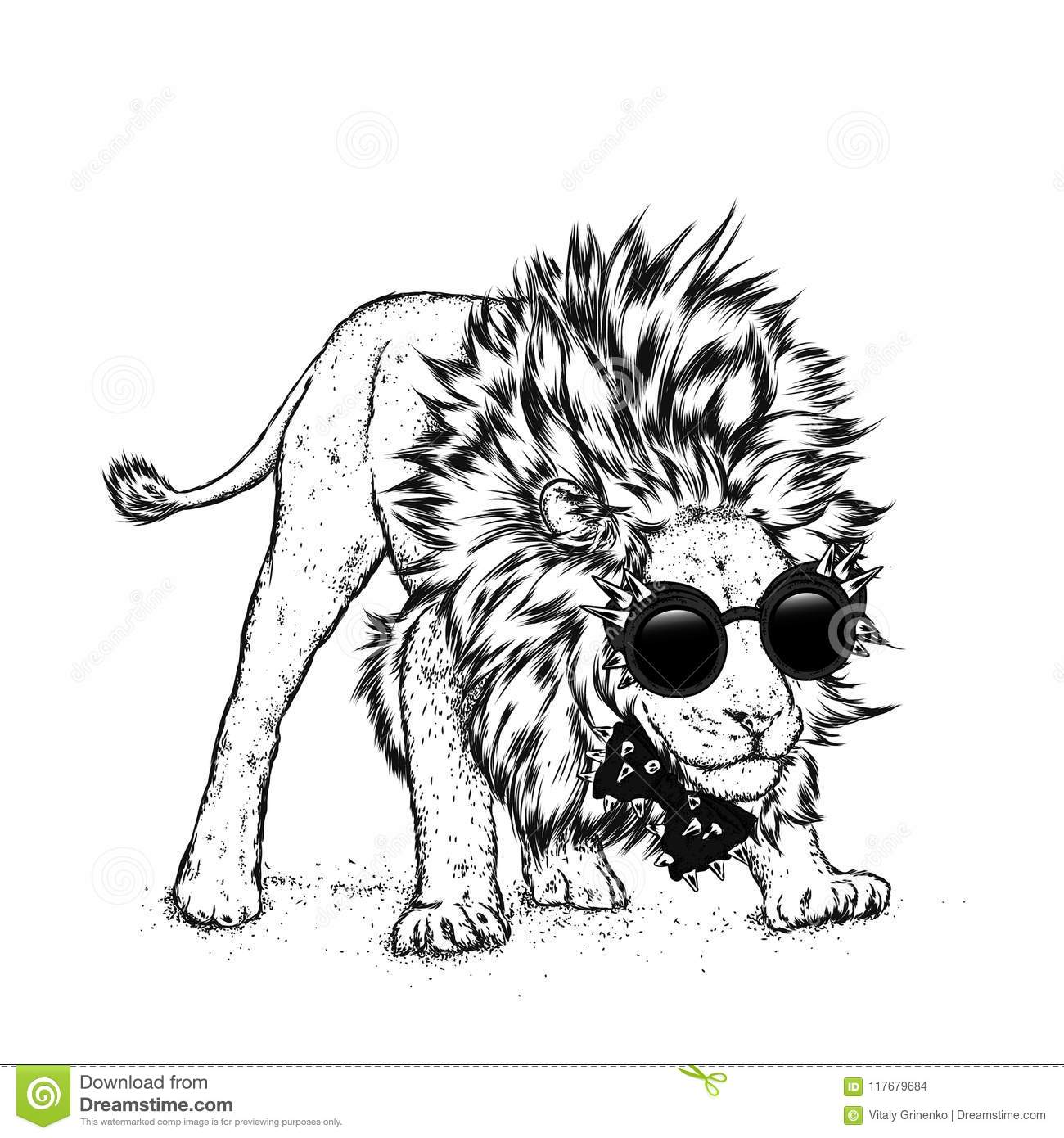 Hipster Poster Print Greeting Card With Animals Leo Stock