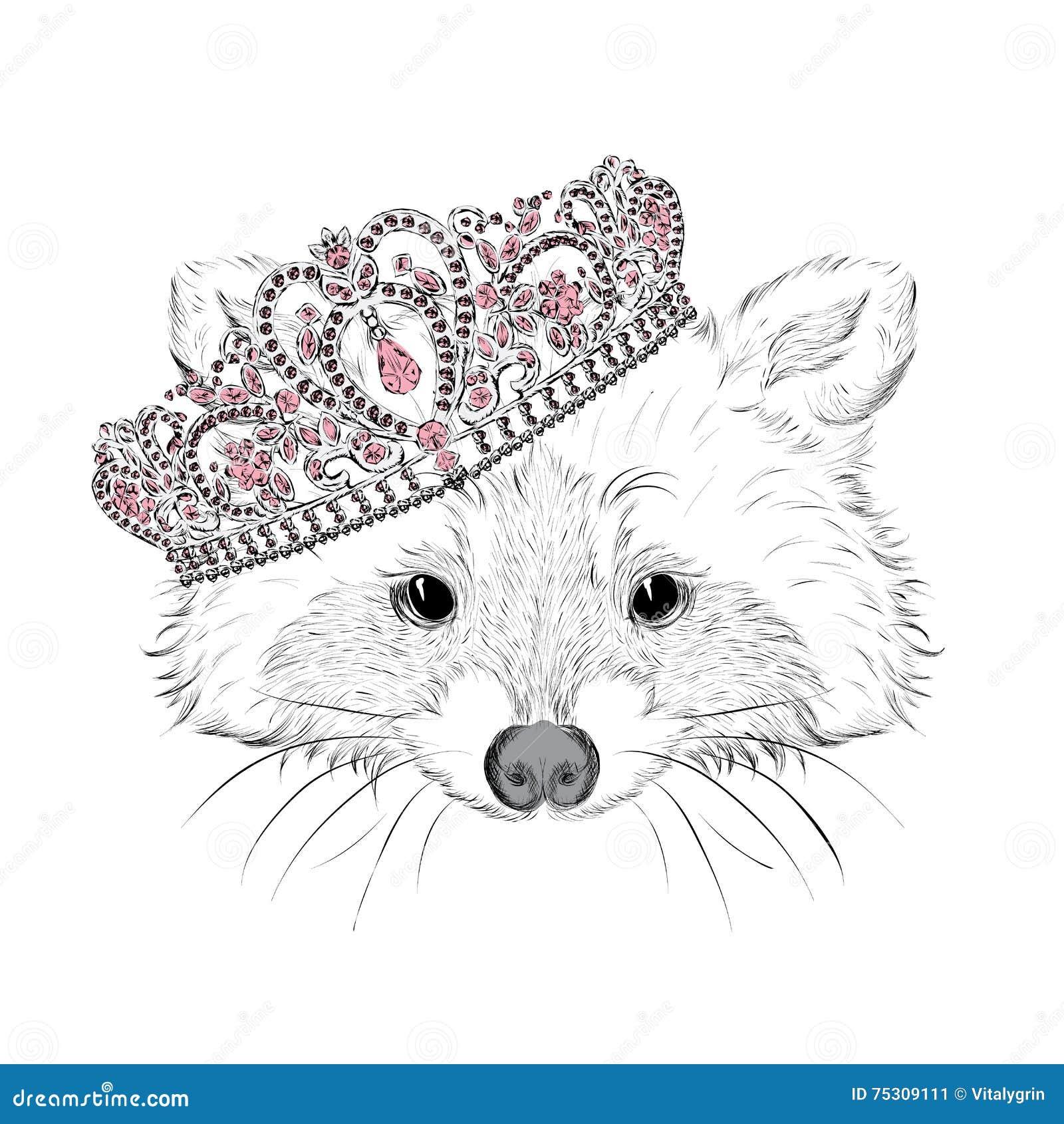 Hipster Procione nella corona Vector l illustrazione per la cartolina d auguri, il manifesto, stampa, o su abbigliamento