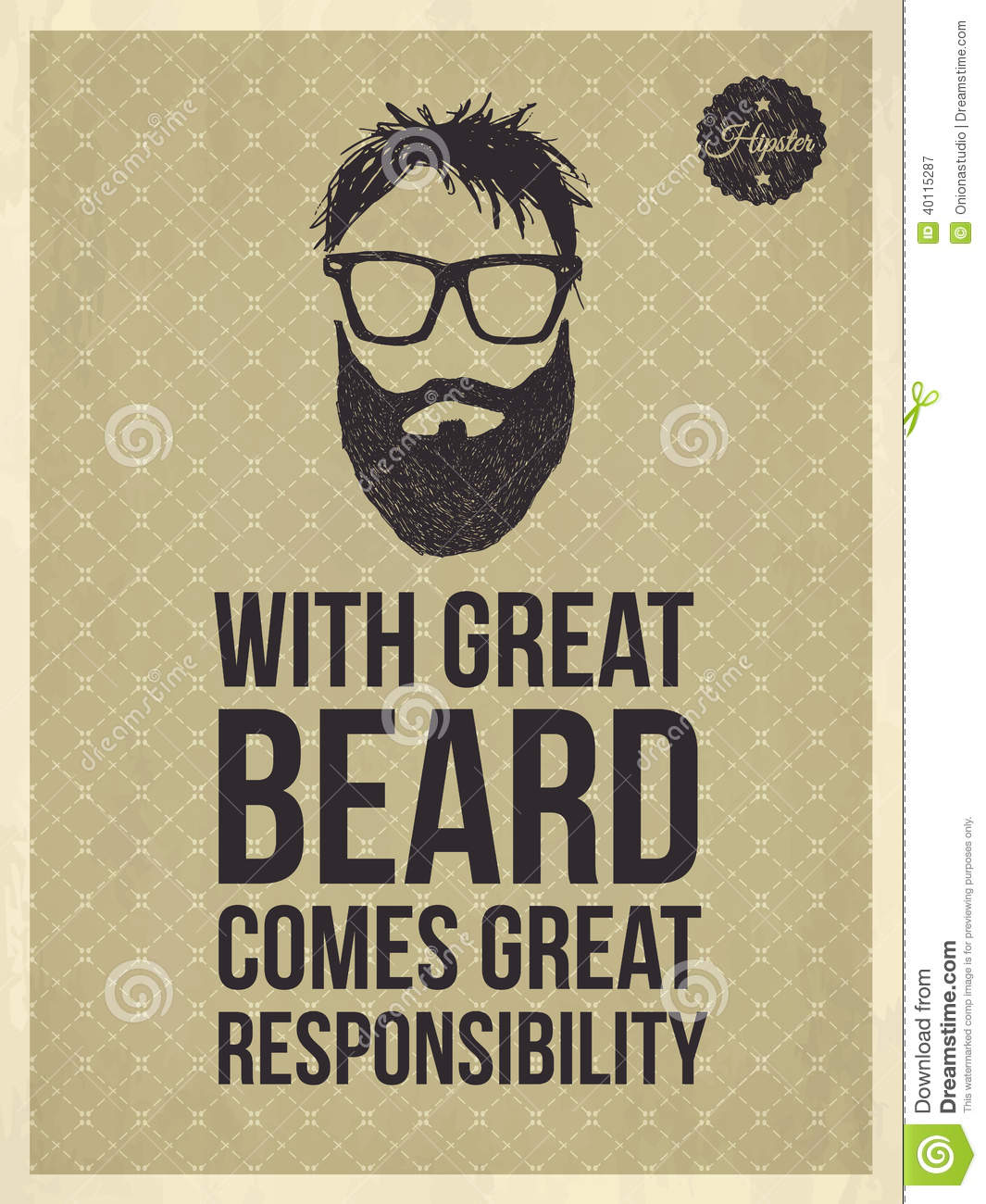 Hipster Quotes With Great Beard Comes