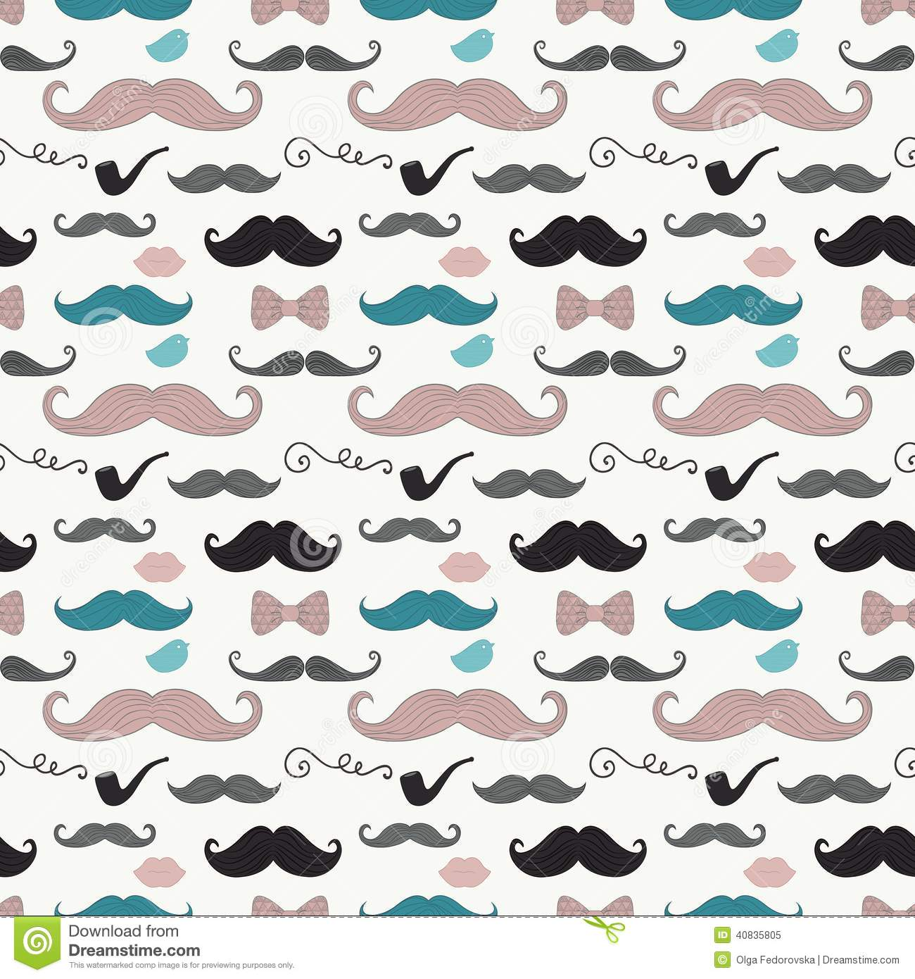 Colourful vintage seamless background pattern with cute retro hipster