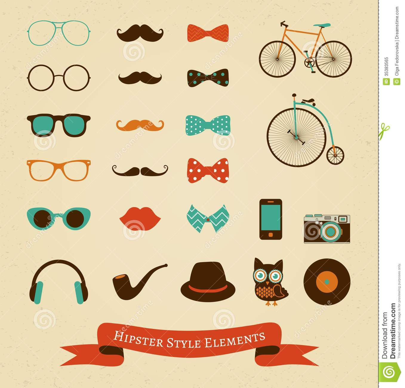 Hipster Retro Vintage Icon Set Royalty Free Stock Photo