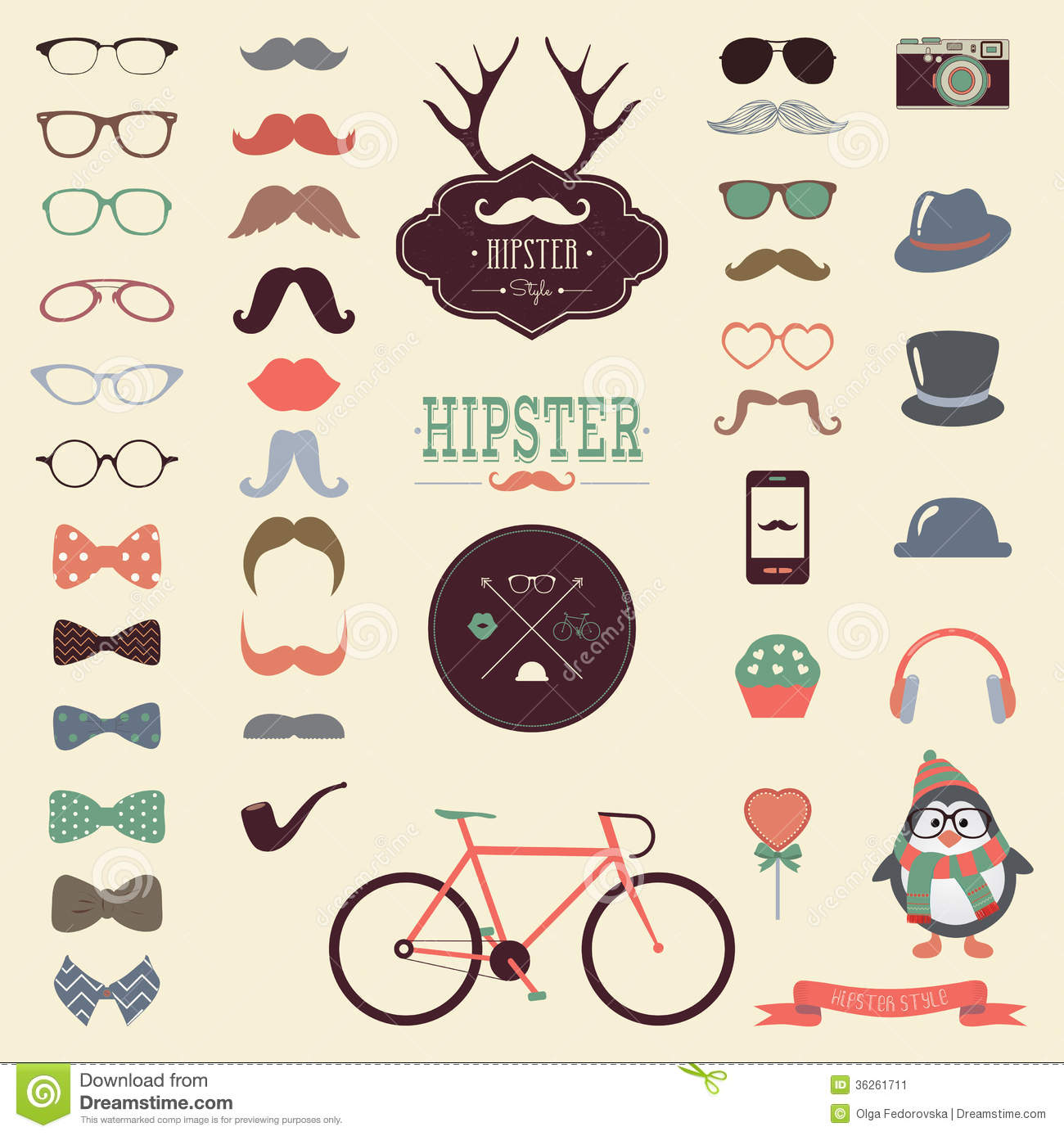 Stock Image Hipster Retro Vintage Icon Set Colorful Vector Image36261711 on mid century retro