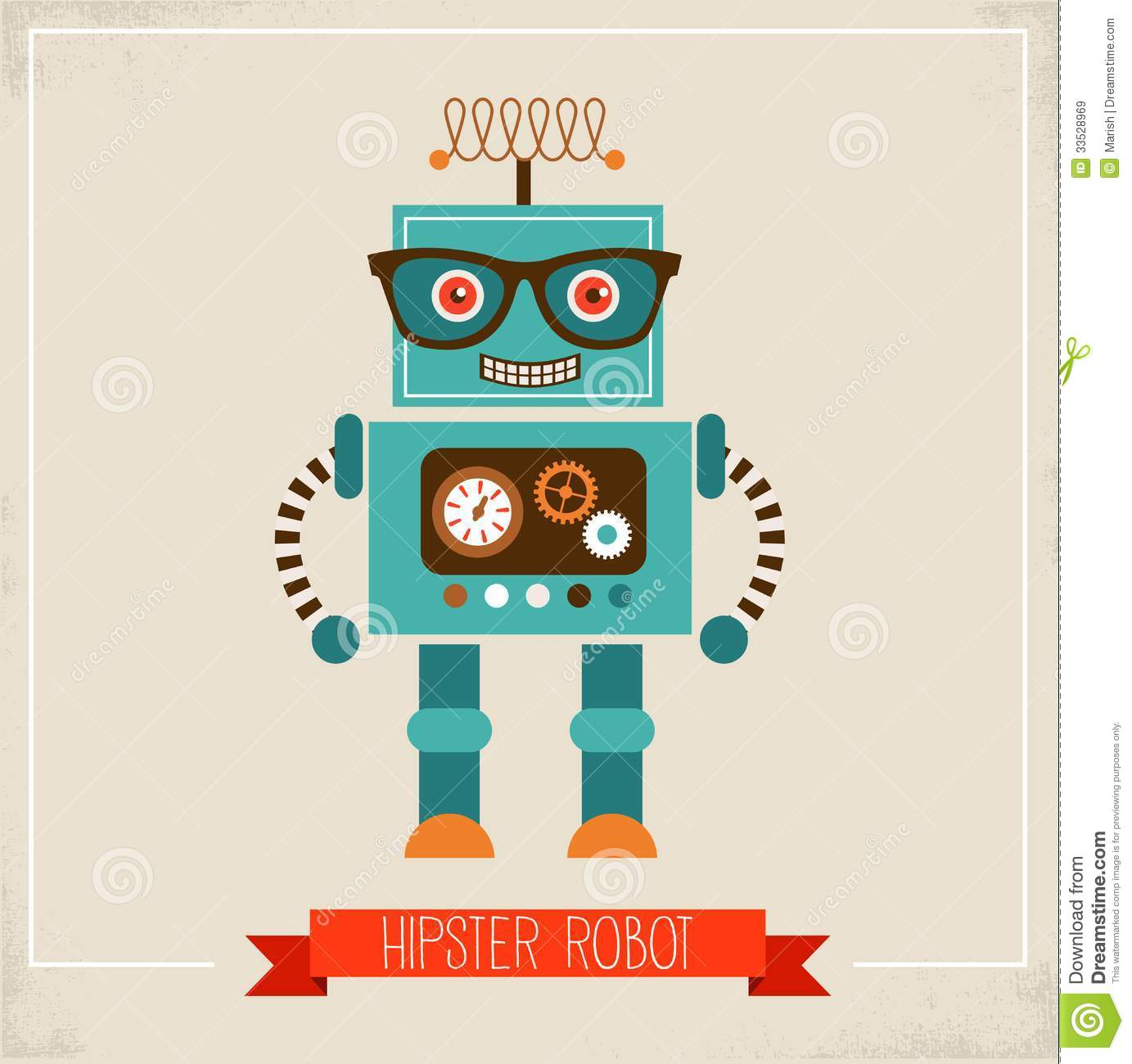 Hipster Robot Toy Icon Royalty Free Stock Images - Image: 33528969