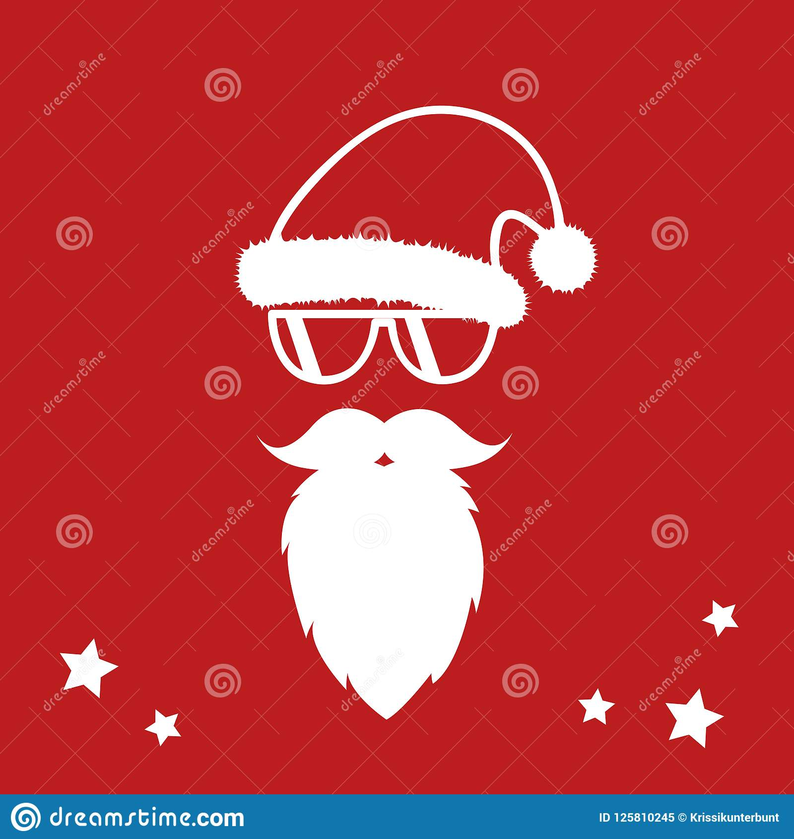 Hipster Santa Claus With Cool Beard And Sunglasses Merry Christmas ...