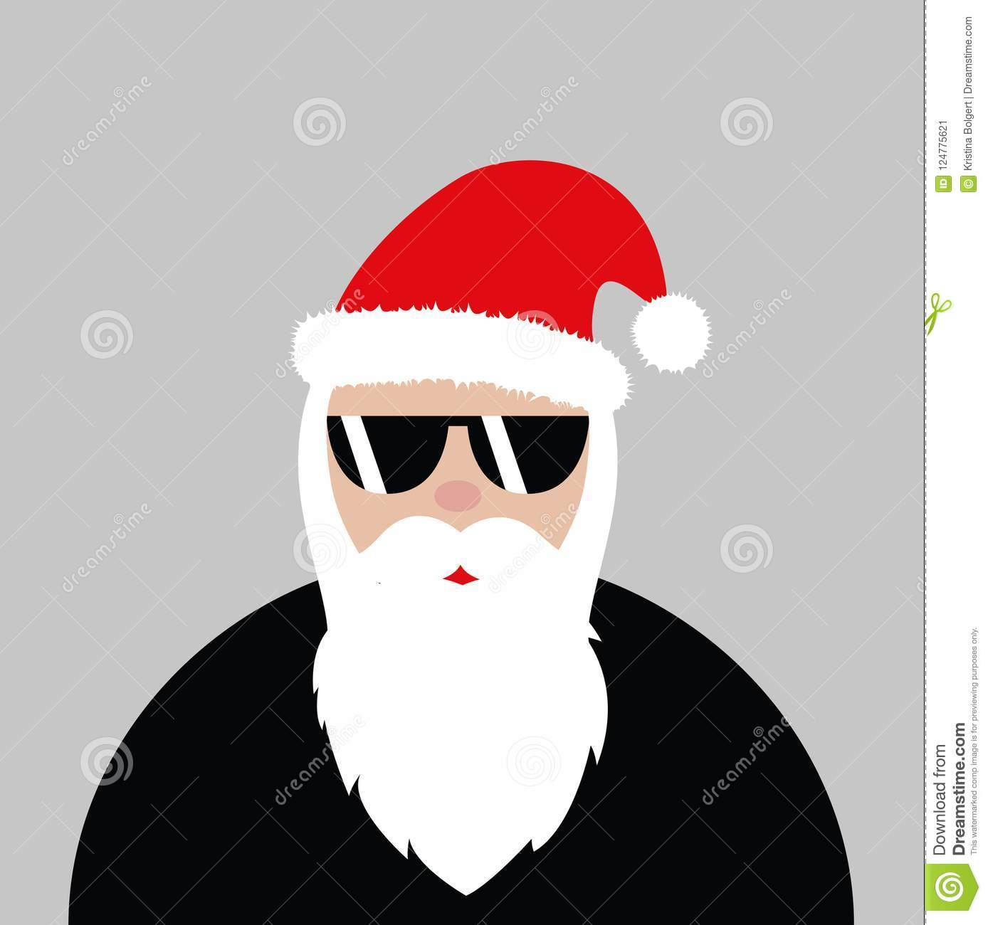 8609fcfbff2 Hipster Santa Claus With Cool Glasses Rock Stock Vector ...